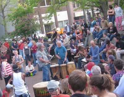 Drumming in Pritchard Park